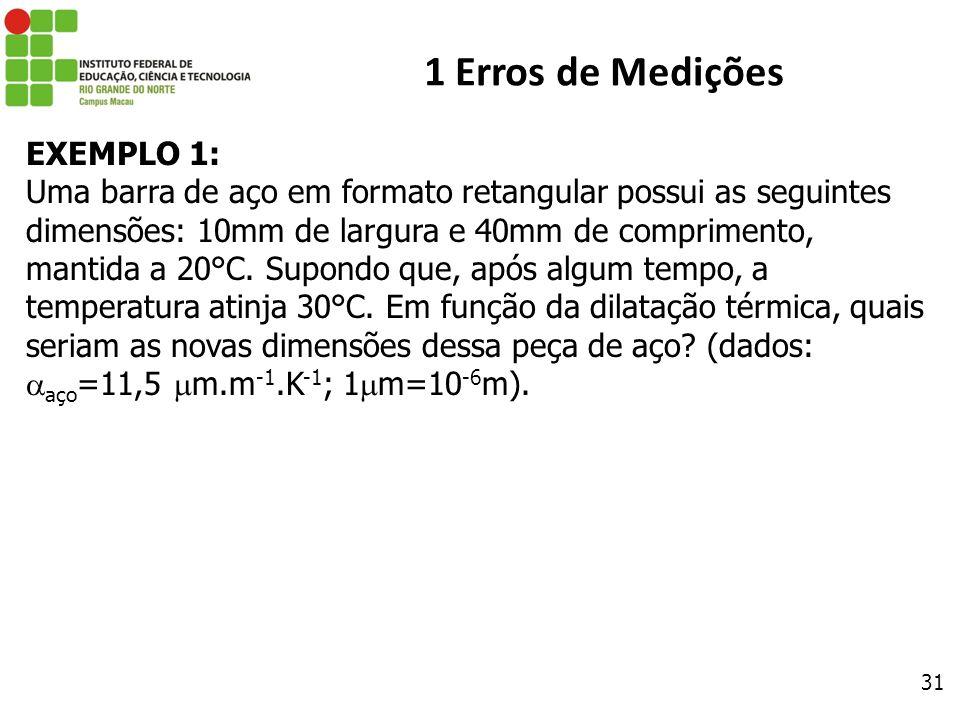 1 Erros de Medições EXEMPLO 1: