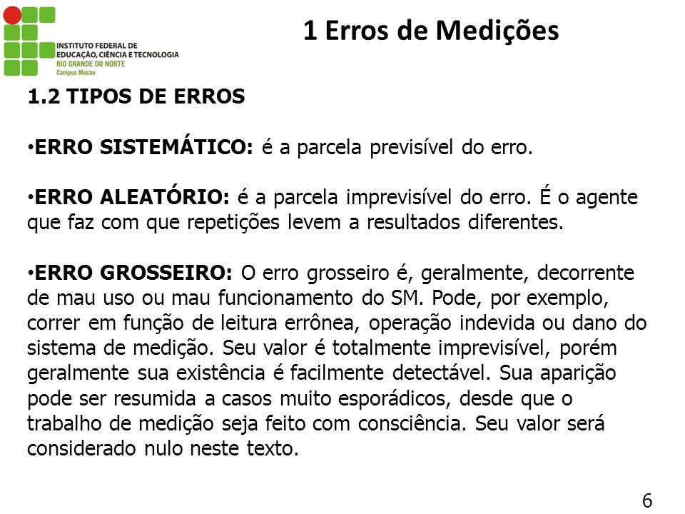 1 Erros de Medições 1.2 TIPOS DE ERROS