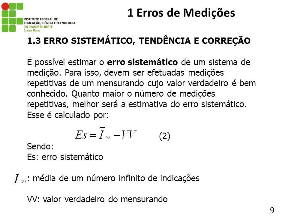 1 Erros de Medições 1.3 ERRO SISTEMÁTICO, TENDÊNCIA E CORREÇÃO