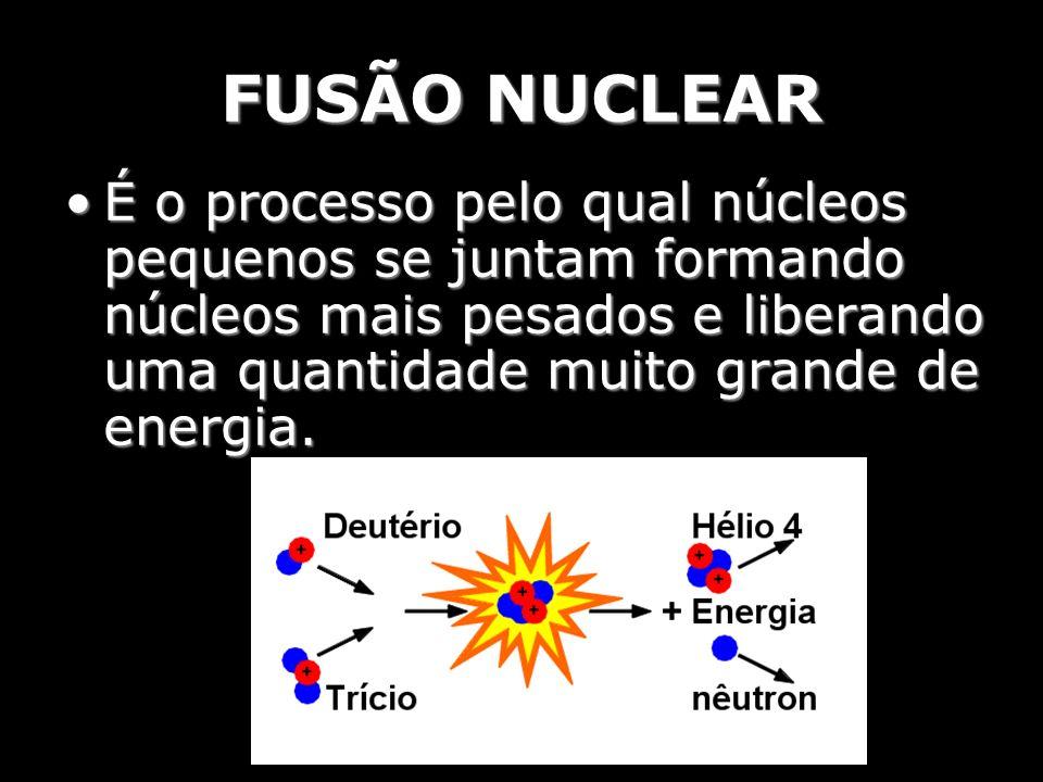 FUSÃO NUCLEAR É o processo pelo qual núcleos pequenos se juntam formando núcleos mais pesados e liberando uma quantidade muito grande de energia.