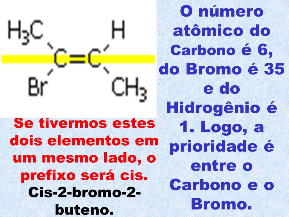 O número atômico do Carbono é 6, do Bromo é 35 e do Hidrogênio é 1