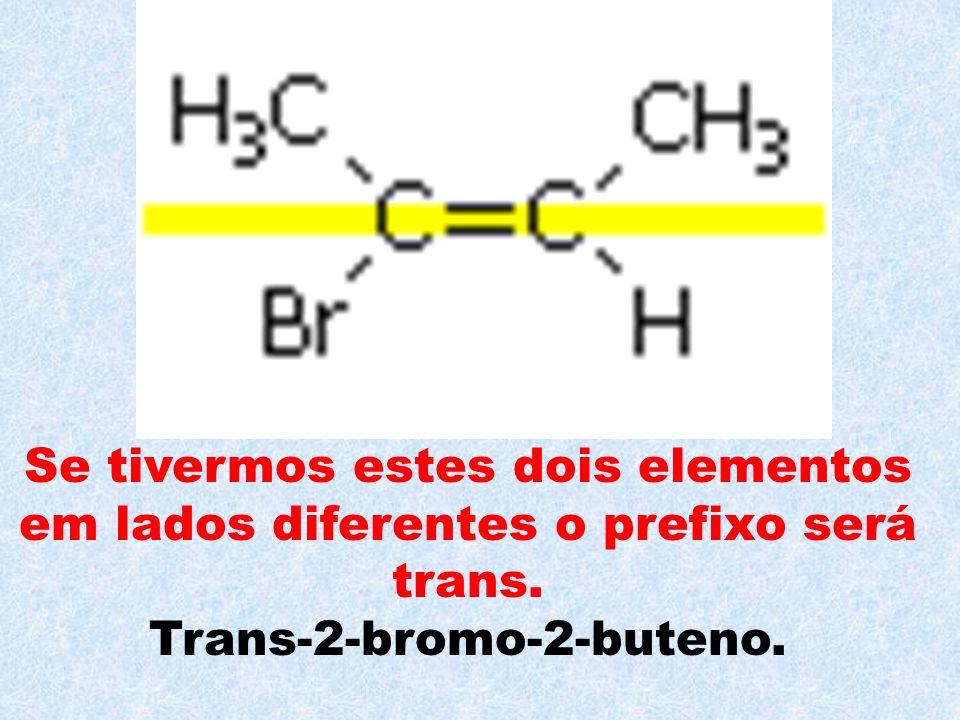 Se tivermos estes dois elementos em lados diferentes o prefixo será trans. Trans-2-bromo-2-buteno.