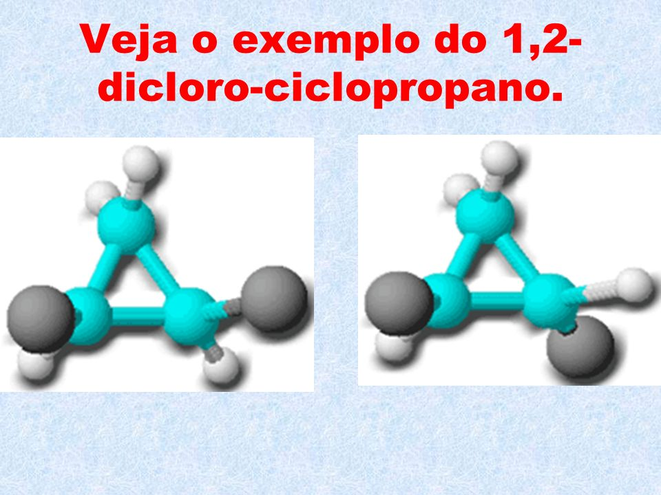 Veja o exemplo do 1,2-dicloro-ciclopropano.