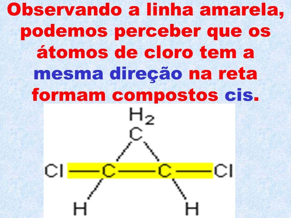 Observando a linha amarela, podemos perceber que os átomos de cloro tem a mesma direção na reta formam compostos cis.