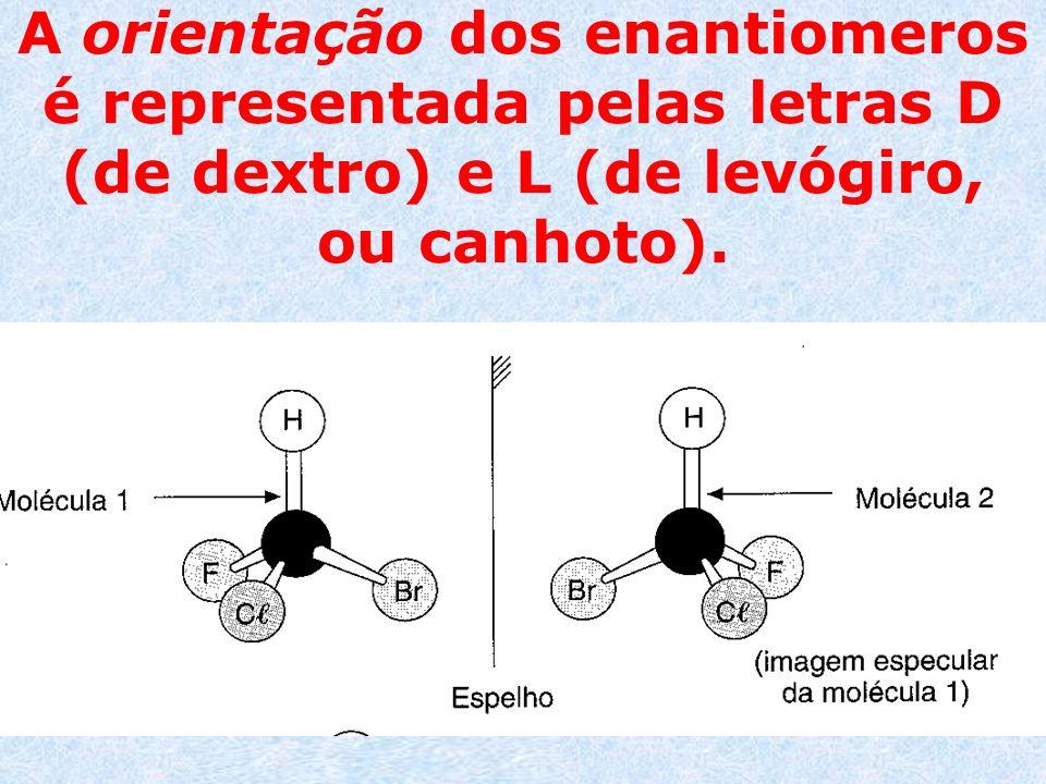 A orientação dos enantiomeros é representada pelas letras D (de dextro) e L (de levógiro, ou canhoto).
