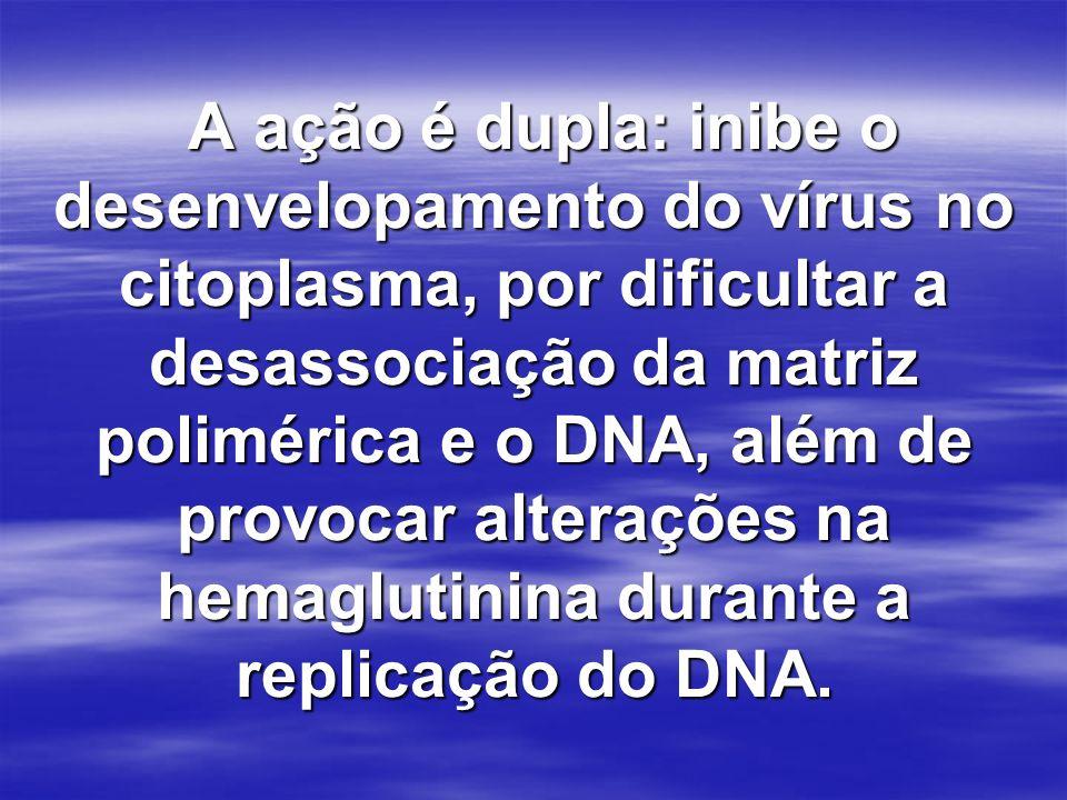 A ação é dupla: inibe o desenvelopamento do vírus no citoplasma, por dificultar a desassociação da matriz polimérica e o DNA, além de provocar alterações na hemaglutinina durante a replicação do DNA.