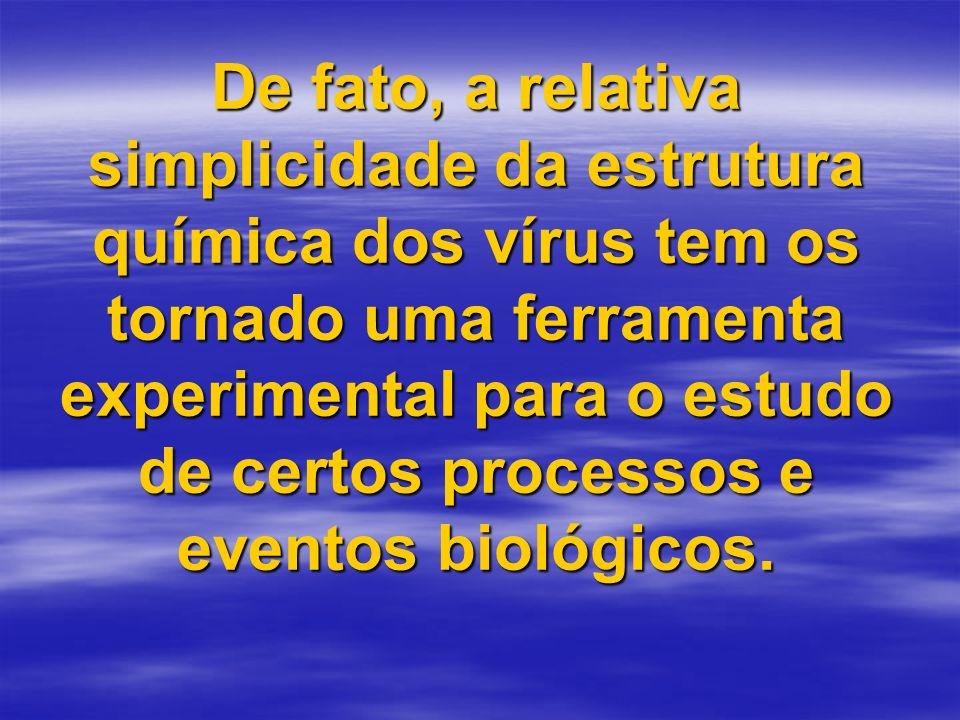 De fato, a relativa simplicidade da estrutura química dos vírus tem os tornado uma ferramenta experimental para o estudo de certos processos e eventos biológicos.