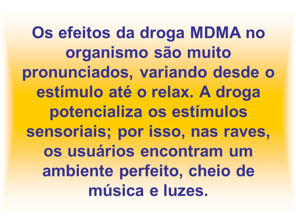 Os efeitos da droga MDMA no organismo são muito pronunciados, variando desde o estímulo até o relax.