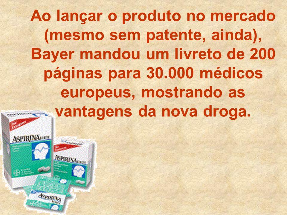 Ao lançar o produto no mercado (mesmo sem patente, ainda), Bayer mandou um livreto de 200 páginas para 30.000 médicos europeus, mostrando as vantagens da nova droga.