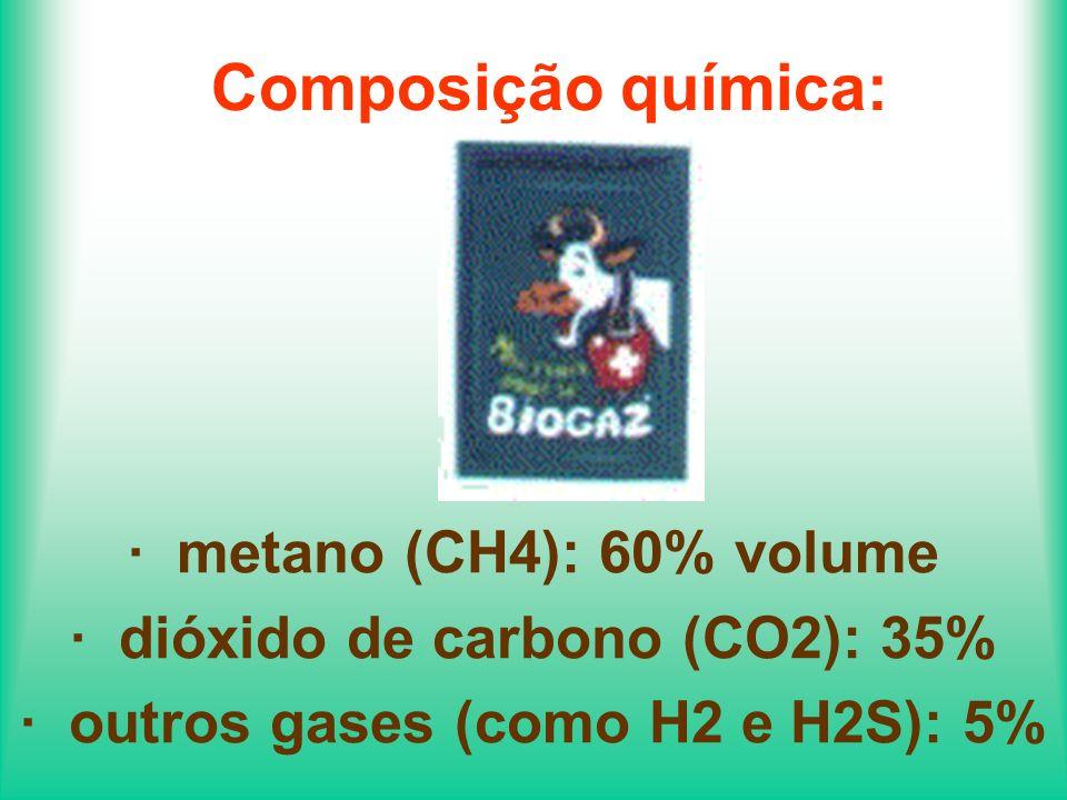· dióxido de carbono (CO2): 35% · outros gases (como H2 e H2S): 5%
