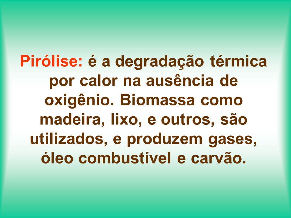 Pirólise: é a degradação térmica por calor na ausência de oxigênio