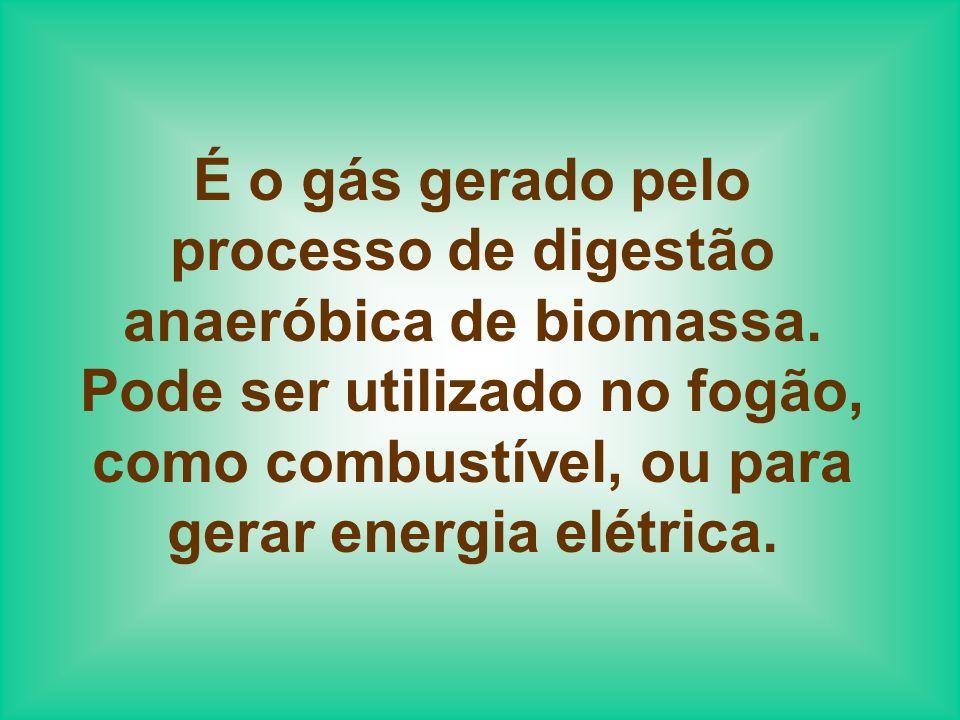 É o gás gerado pelo processo de digestão anaeróbica de biomassa