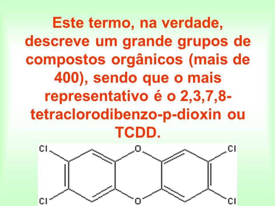Este termo, na verdade, descreve um grande grupos de compostos orgânicos (mais de 400), sendo que o mais representativo é o 2,3,7,8-tetraclorodibenzo-p-dioxin ou TCDD.