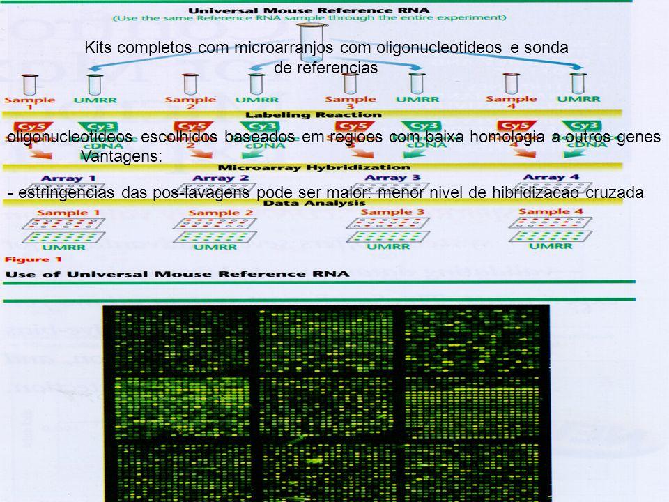 Kits completos com microarranjos com oligonucleotideos e sonda de referencias