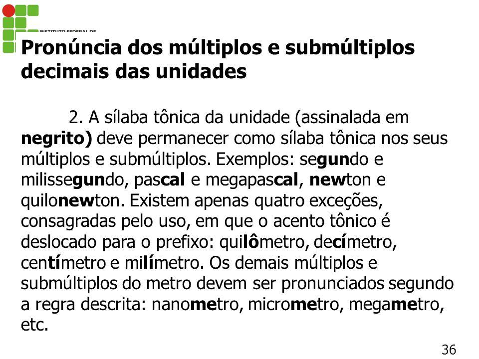 Pronúncia dos múltiplos e submúltiplos decimais das unidades