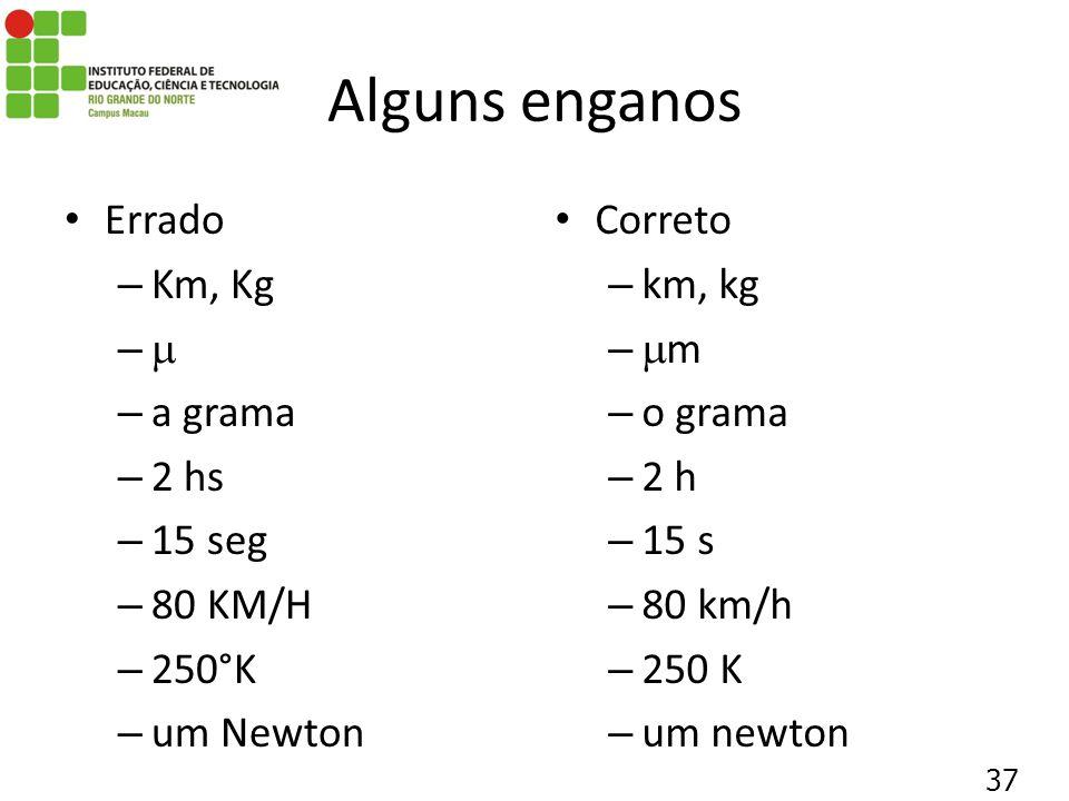 Alguns enganos Errado Km, Kg  a grama 2 hs 15 seg 80 KM/H 250°K