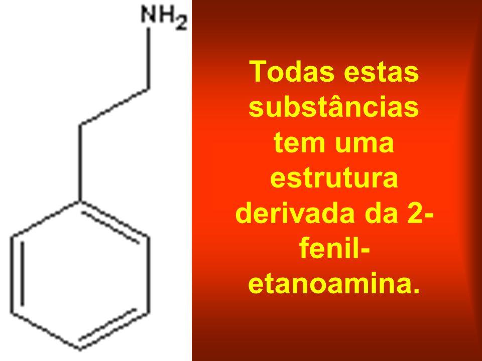 Todas estas substâncias tem uma estrutura derivada da 2-fenil-etanoamina.