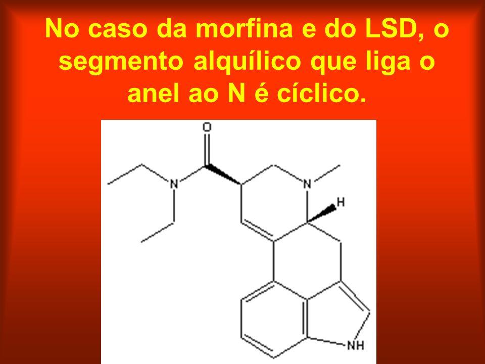 No caso da morfina e do LSD, o segmento alquílico que liga o anel ao N é cíclico.