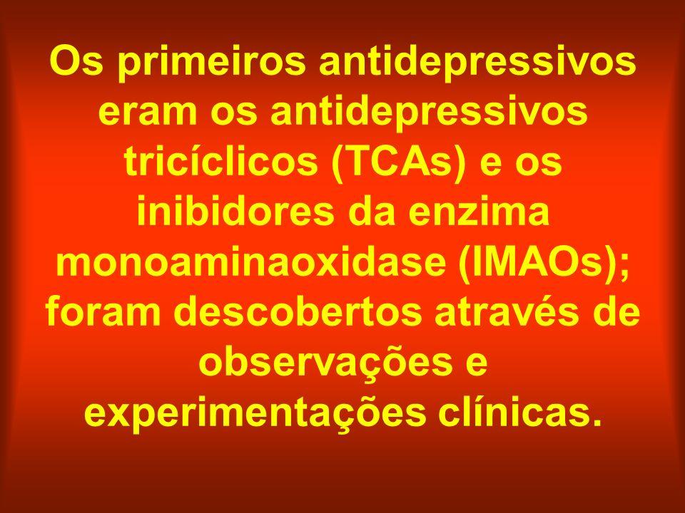 Os primeiros antidepressivos eram os antidepressivos tricíclicos (TCAs) e os inibidores da enzima monoaminaoxidase (IMAOs); foram descobertos através de observações e experimentações clínicas.