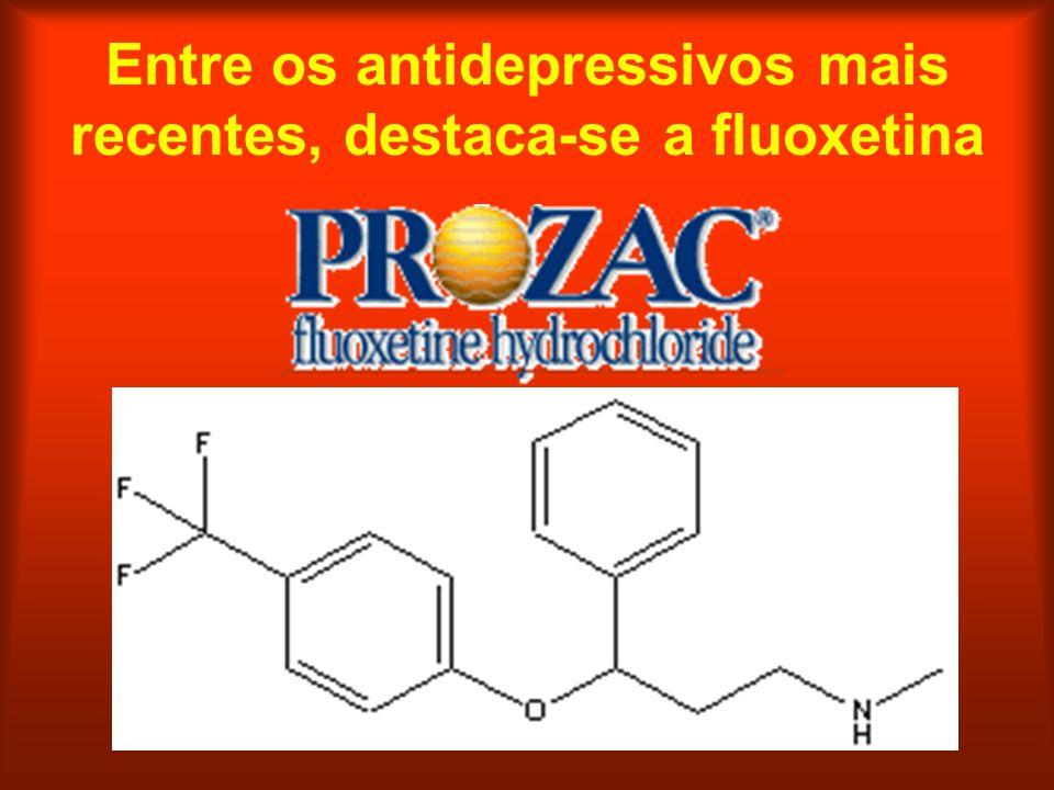 Entre os antidepressivos mais recentes, destaca-se a fluoxetina