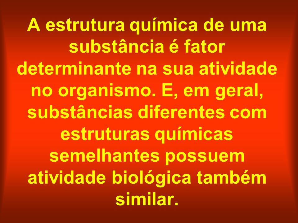 A estrutura química de uma substância é fator determinante na sua atividade no organismo.