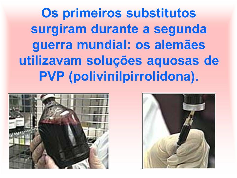 Os primeiros substitutos surgiram durante a segunda guerra mundial: os alemães utilizavam soluções aquosas de PVP (polivinilpirrolidona).