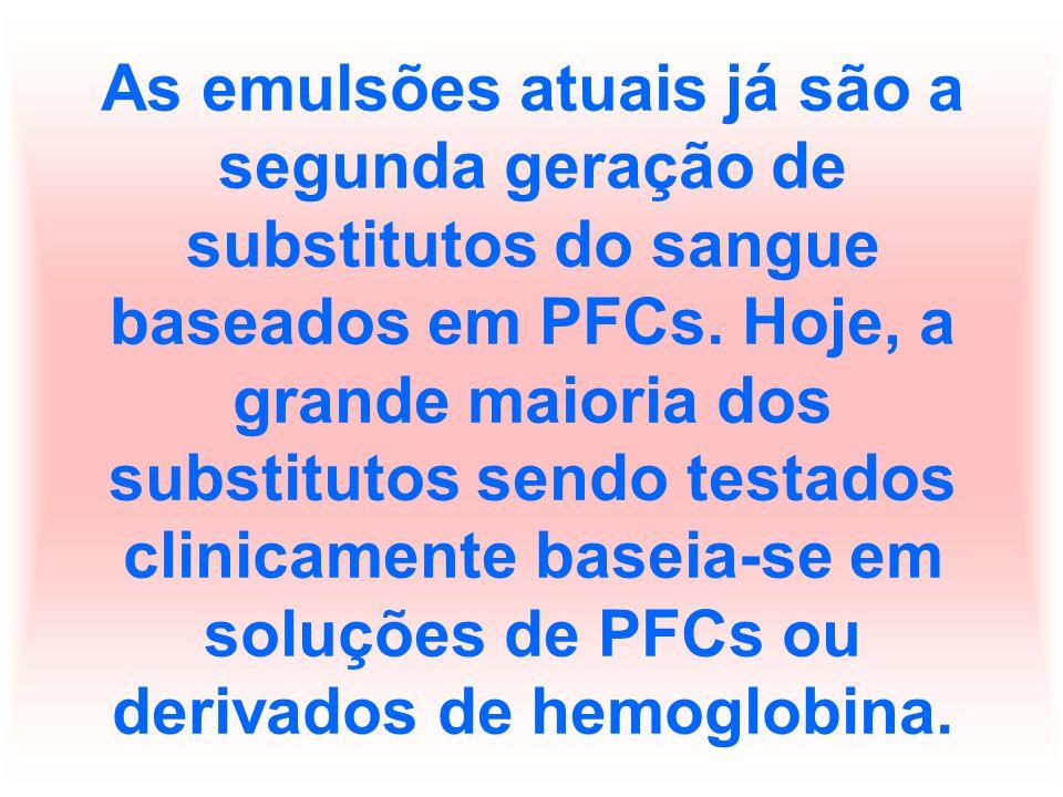 As emulsões atuais já são a segunda geração de substitutos do sangue baseados em PFCs.