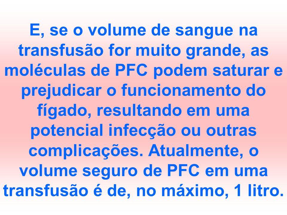 E, se o volume de sangue na transfusão for muito grande, as moléculas de PFC podem saturar e prejudicar o funcionamento do fígado, resultando em uma potencial infecção ou outras complicações.