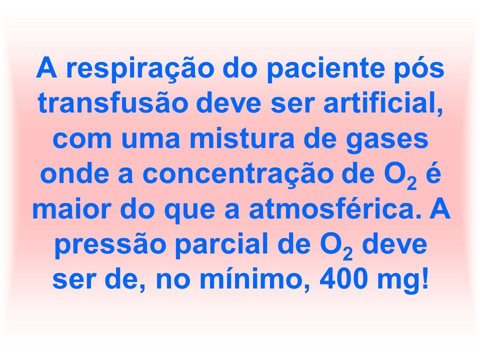A respiração do paciente pós transfusão deve ser artificial, com uma mistura de gases onde a concentração de O2 é maior do que a atmosférica.