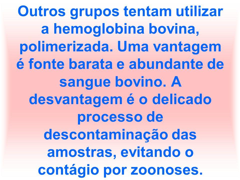 Outros grupos tentam utilizar a hemoglobina bovina, polimerizada
