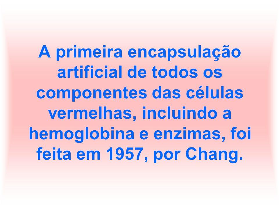 A primeira encapsulação artificial de todos os componentes das células vermelhas, incluindo a hemoglobina e enzimas, foi feita em 1957, por Chang.
