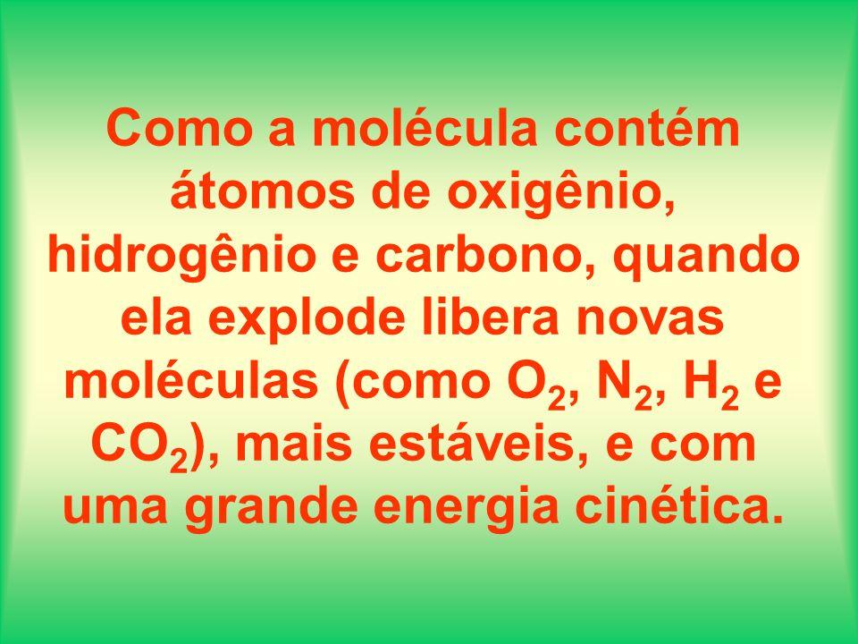 Como a molécula contém átomos de oxigênio, hidrogênio e carbono, quando ela explode libera novas moléculas (como O2, N2, H2 e CO2), mais estáveis, e com uma grande energia cinética.