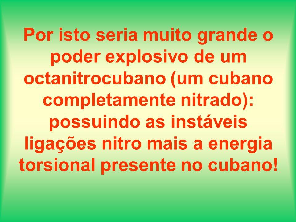 Por isto seria muito grande o poder explosivo de um octanitrocubano (um cubano completamente nitrado): possuindo as instáveis ligações nitro mais a energia torsional presente no cubano!