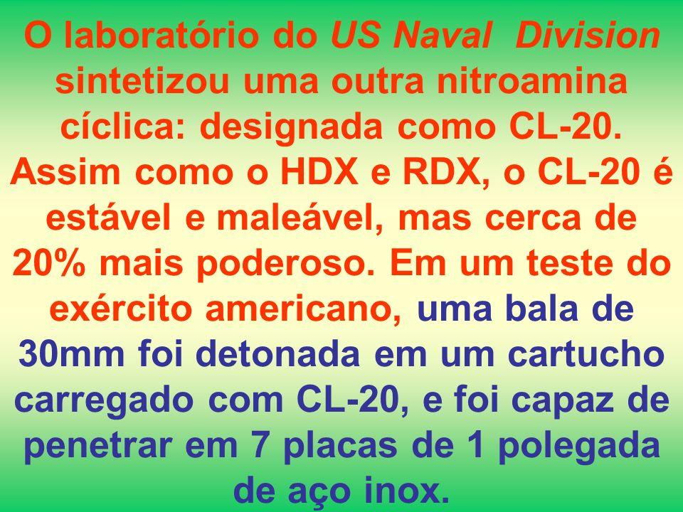 O laboratório do US Naval Division sintetizou uma outra nitroamina cíclica: designada como CL-20.