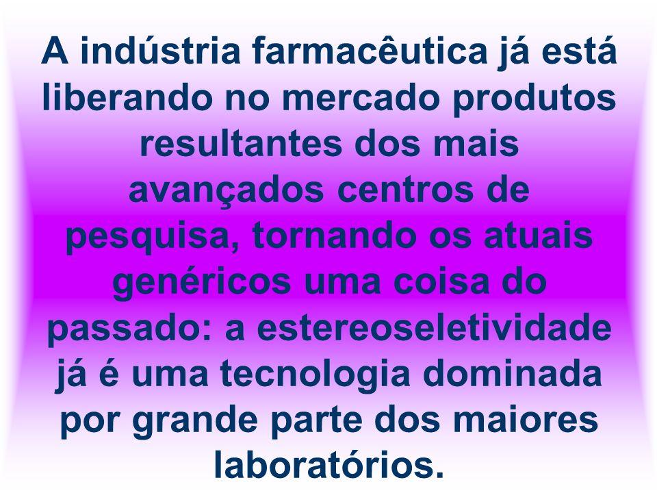 A indústria farmacêutica já está liberando no mercado produtos resultantes dos mais avançados centros de pesquisa, tornando os atuais genéricos uma coisa do passado: a estereoseletividade já é uma tecnologia dominada por grande parte dos maiores laboratórios.