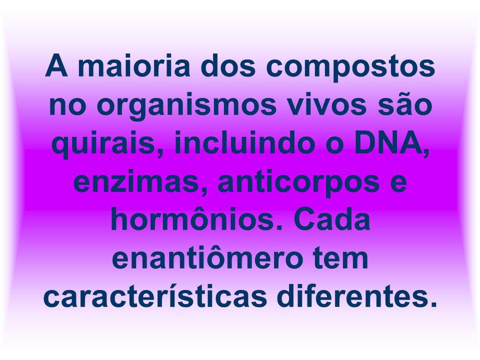 A maioria dos compostos no organismos vivos são quirais, incluindo o DNA, enzimas, anticorpos e hormônios.