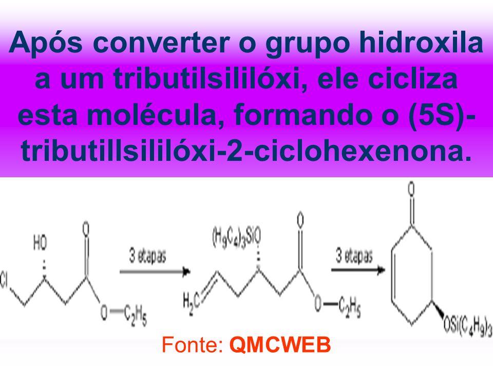 Após converter o grupo hidroxila a um tributilsililóxi, ele cicliza esta molécula, formando o (5S)-tributillsililóxi-2-ciclohexenona.