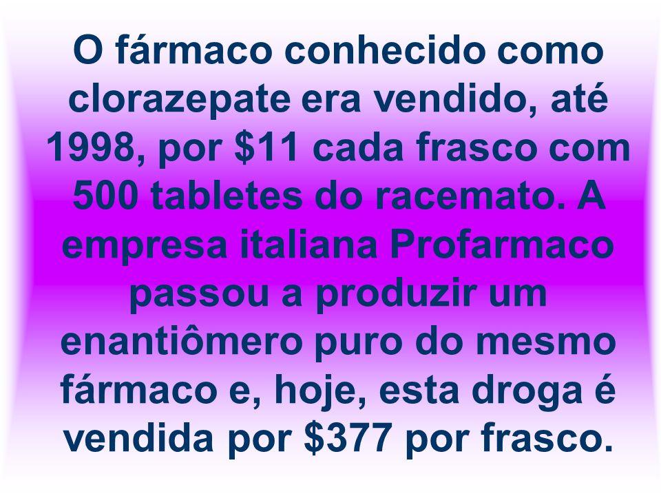 O fármaco conhecido como clorazepate era vendido, até 1998, por $11 cada frasco com 500 tabletes do racemato.