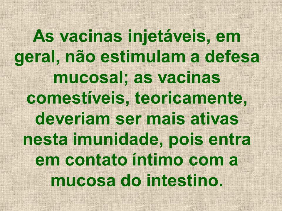 As vacinas injetáveis, em geral, não estimulam a defesa mucosal; as vacinas comestíveis, teoricamente, deveriam ser mais ativas nesta imunidade, pois entra em contato íntimo com a mucosa do intestino.