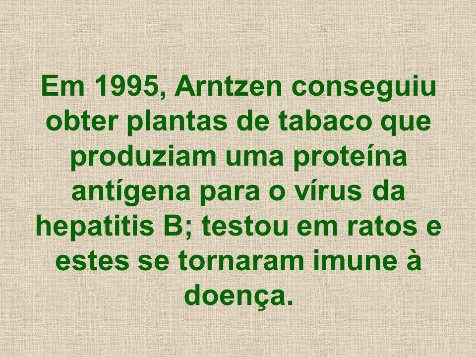 Em 1995, Arntzen conseguiu obter plantas de tabaco que produziam uma proteína antígena para o vírus da hepatitis B; testou em ratos e estes se tornaram imune à doença.