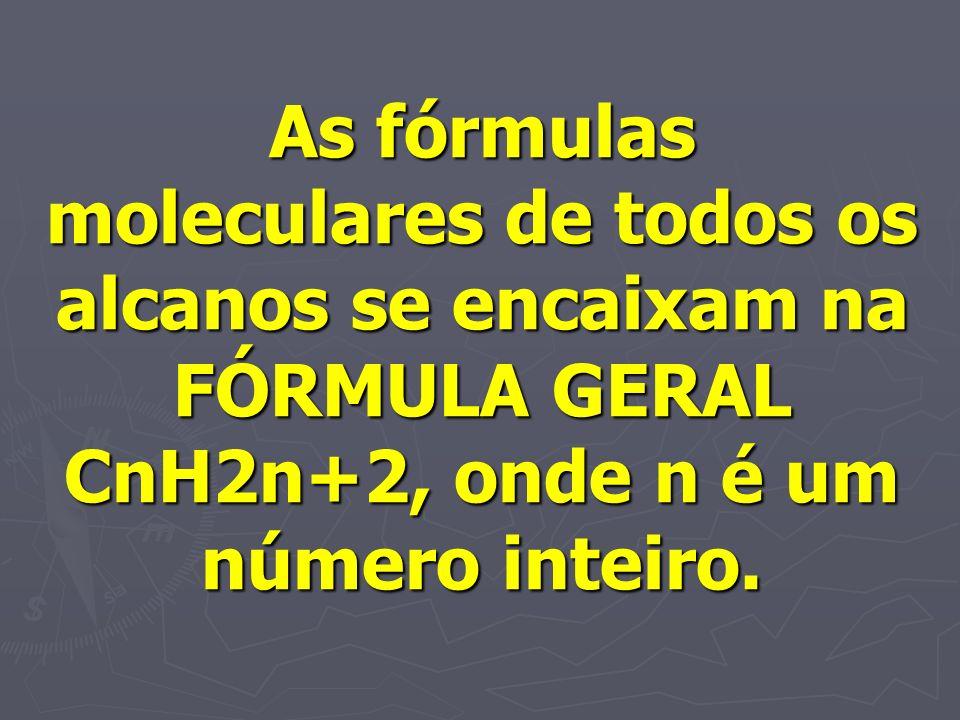 As fórmulas moleculares de todos os alcanos se encaixam na FÓRMULA GERAL CnH2n+2, onde n é um número inteiro.