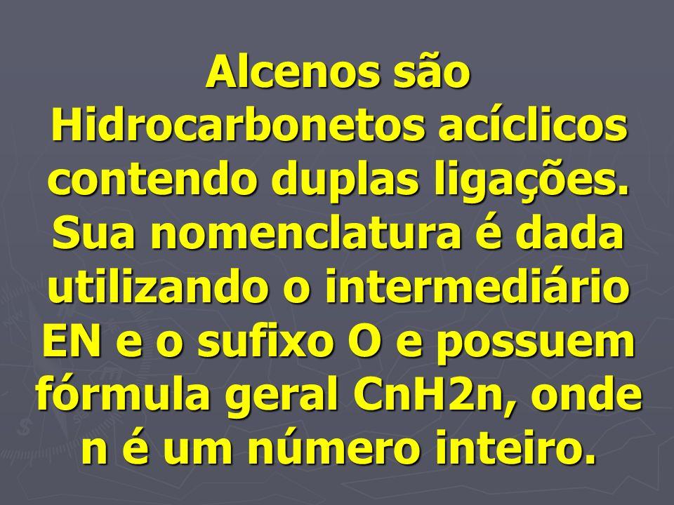 Alcenos são Hidrocarbonetos acíclicos contendo duplas ligações