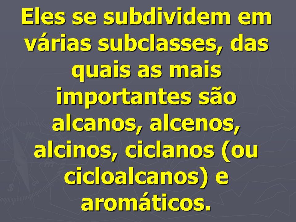 Eles se subdividem em várias subclasses, das quais as mais importantes são alcanos, alcenos, alcinos, ciclanos (ou cicloalcanos) e aromáticos.
