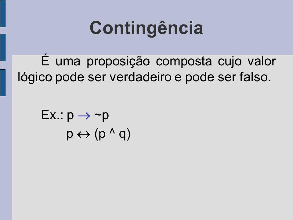 Contingência É uma proposição composta cujo valor lógico pode ser verdadeiro e pode ser falso. Ex.: p  ~p.