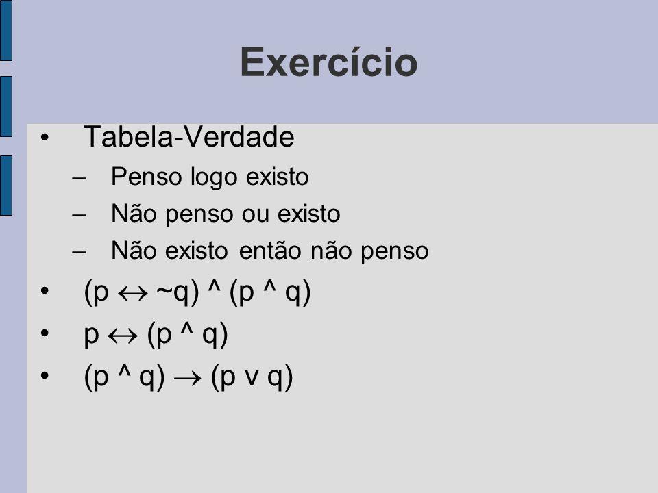 Exercício Tabela-Verdade (p  ~q) ^ (p ^ q) p  (p ^ q)