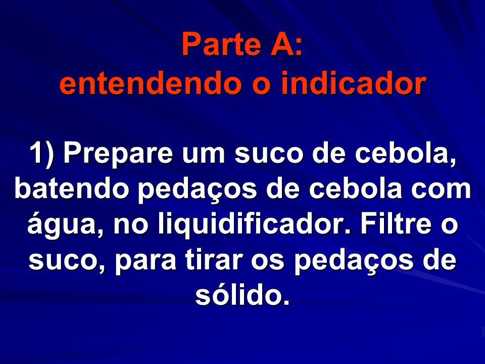 Parte A: entendendo o indicador 1) Prepare um suco de cebola, batendo pedaços de cebola com água, no liquidificador.