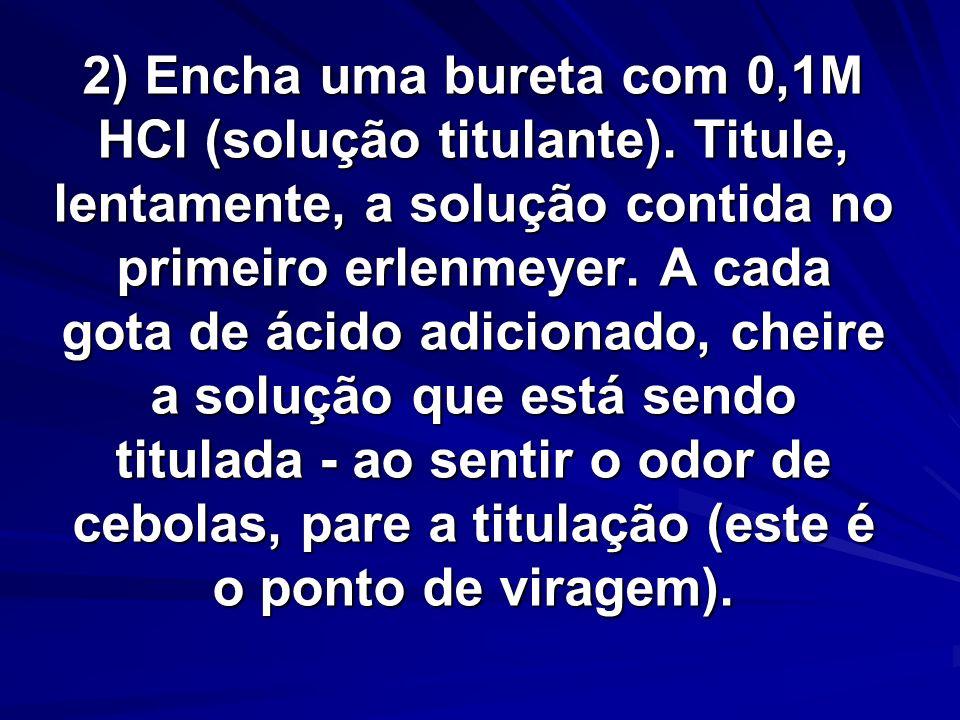 2) Encha uma bureta com 0,1M HCl (solução titulante)