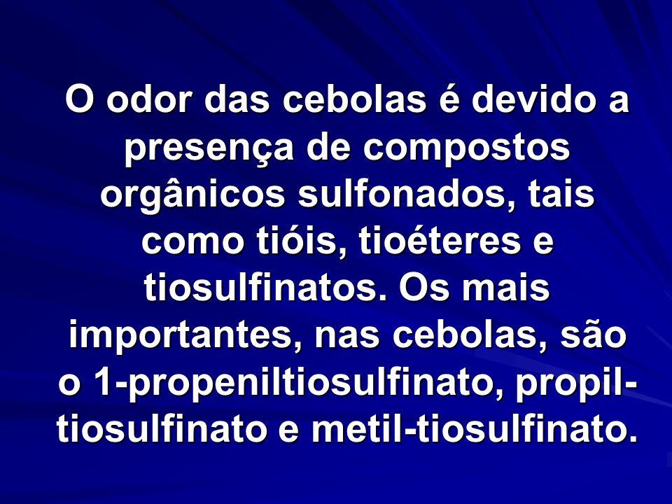 O odor das cebolas é devido a presença de compostos orgânicos sulfonados, tais como tióis, tioéteres e tiosulfinatos.