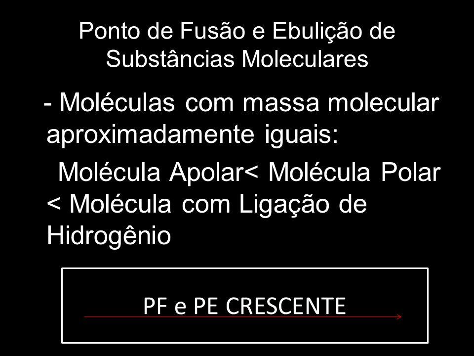 Ponto de Fusão e Ebulição de Substâncias Moleculares