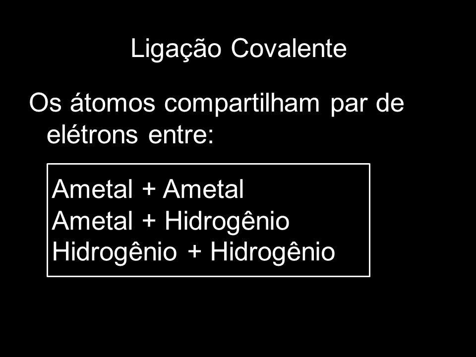 Ligação CovalenteOs átomos compartilham par de elétrons entre: Ametal + Ametal. Ametal + Hidrogênio.